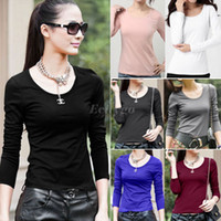 Wholesale Hot Selling Womens Ladies Basic Top Long Sleeve Round Neck Plain Jersey T Shirt Colors Size M L XL Dx5