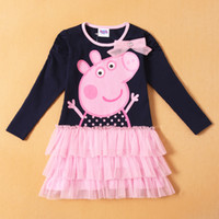 Girl Spring / Autumn Standard Wholesale -2014 Spring and Autumn Baby Gilrs Long sleeve Tutu dress cut peppa pig Layered dress girl princess dresses 2-6Y baby clothing
