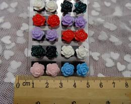 Top Quality Fashion Multicolor Resin 10MM Rose Earrings Flower Stud Earrings Women Flower Earrings Jewelry TL1