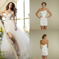 A-Line two piece wedding dress - 2014 lace backless wedding dresses sexy strapless beads Lace bow sash short wedding dresses with detachable two pieces skirt train GA