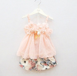 Wholesale new spring summer babys girls Childrens Princess two pieces sets of Outfits amp Sets flower lace T shirts shorts HH