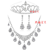 Rhinestone/Crystal jewelry made in china - DN Rhinestone Tiara Necklace Earring Set Bridal Wedding Accessories There Pieces Party Jewelry Wedding Accessories Hgyuhg Made In China