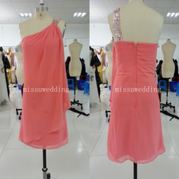 Wholesale In stock Water melon One shoulder sheath Mini chiffon beads crystal Short bridesmaid dress Party gowns