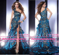 Reference Images Sweep Train Trumpet/Mermaid 2014 Sexy Pageant Dresses Peacock Feather One Shoulder Side Slit Backless Mermaid Prom Dresses Formal Evening Gowns with Ruffles P14366