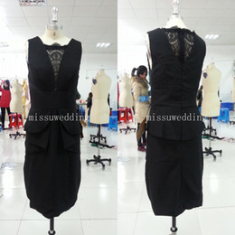 Wholesale In stock Little black Dress Beteau Sheath Mini Lace look Mother of the bride dresses party gowns