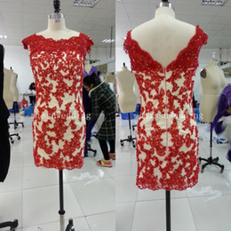 Wholesale In stock Red Beteau SHeath Mini Applique lace Sequin beads Long Mother of the bride dress cocktail gowns Party dress