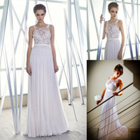 A-Line Reference Images Jewel Luxury Sheer Neck Boho Long With Lace Formal Backless Chiffon Pleated 2014 Beach Bohemian Bridal Dresses Sexy Cheap Wedding Gowns Ball Dress