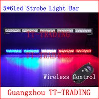 Wholesale Wireless control Car Strobe Light bar LED Police warning Lights emergency strobe lights DC V inch red blue white amber