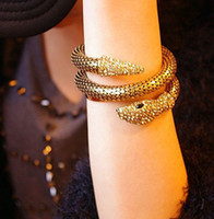 Bangle animal shooting - Fashion Element Alloy Street Shoot Exaggerated Multilayer Metal Inlay Bracelet Sparkling Crystal Animal Zodiac Snake Punk Snake Bracelet