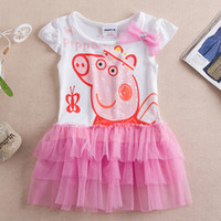 Wholesale Free shipping Cotton Girls Lace Dress Cartoon Pepp...