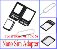 Wholesale 4 in Nano SIM to Micro Standard Card Adapter Adaptors for iPhone S iPhone5 with retail package Eject SIM Card Pin