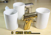 Wholesale New Temperature resistant Ceramic Cup With A Pistol Grip Mark Pistol Handle Creative Ceramic Coffee Mug Novelty Gift Cup Of Tea Y4097