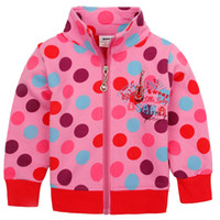 Wholesale F3543 Nova brand Children winter clothing m y baby girls pink polka dots hoodies guitar embroidery French terry sweatshirts jackets