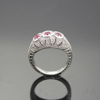 Wholesale Silver Jewelry Created Ruby and Clear Cz Diamonds Ring Size