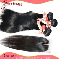 Brazilian Virgin Hair Middle Part Lace Closure With 3pcs Hai...