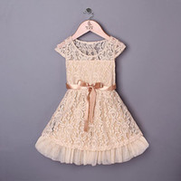 Wholesale 2014 Fashion Designer Girls Dresses Beige Lace Top With Gauze Hem And Belt Children Summer Casual Clothing GD40224