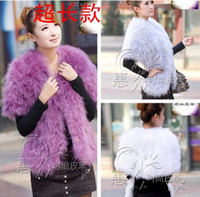Wholesale High end and high density cotton real ostrich feather cape fur shawls long wedding shawls multicolor