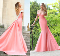Wholesale fiesta dresses Sweetheart Crystals Beaded off shoulder mermaid satin vestido longo de festa Tarik Ediz Prom Dresses Evening GOWNS ZA118