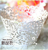 Wholesale 120pcs Ivory Laser cut Lace Cake Wrapper Cupcake Wrapper set of ivory white pink giliter H163