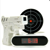 Wholesale 2014 hottest Novelty LCD Laser Gun Shooting Target Wake UP Alarm Desk Clock Gadget Fun Toy