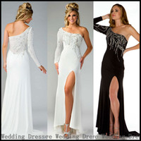 Wholesale One Shoulder Long Sleeves Evening Dresses Chiffon Black White Split Sheath Prom Gowns Beaded Crystals YJ78522