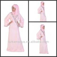 Wholesale 2014 abaya jilbab kaftan beaded appliqued pink muslim arabic abaya evening dress