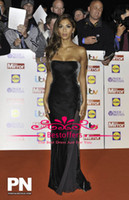 Wholesale Strapless velvet evening dress with side slit zipper back sheath women party gown Nicole scherzinger in black celebrity dress