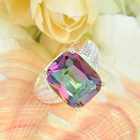 Rainbow Jewelry Gift Natural Mystic Topaz sterling silver Ri...