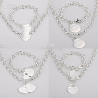 Wholesale Hot sell Jewelry Sets Fashion Women s Bracelet and Necklace Jewelry Silver Charms Pendants Links Chain Mix Styles Orders