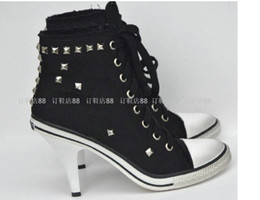Wholesale Hot Sale Ash Black Canvas Boots Thin Heels High Heeled Boots Rivet High Top Shoes Casual Women s Shoes