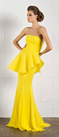 Reference Images Strapless Chiffon Party Dresses Mermaid Strapless Peplum Floor length Sweep Chiffon Yellow Evening Dresses Free shipping Hote sale Sexy Prom Dresses