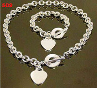 Bracelet & Necklace 925 silver jewelry - Hot sell Heart Jewelry Sets Fashion Women s Bracelet and Necklace Jewelry Silver Charms Pendants Links Chain Mix Styles Orders