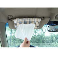 Wholesale 12Pcs Car sun visor Tissue box Auto accessories holder Paper napkin clip PU leather storage box