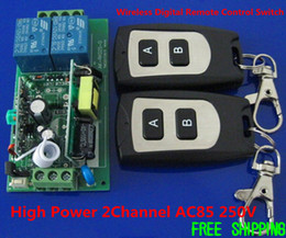 High Power AC110V 220V 10A 2Channel AC85 250V RF 433MHZ 315MHZ Wireless Digital Remote Control Switch System 1 Receiver and 2 Transmitter