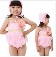 Wholesale 2014 summer baby swimwear flower bikini beach pink color