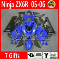 Comression Mold For Kawasaki Ninja ZX-6R ABS full fairing kit for Kawasaki Ninja fairings ZX-6R 636 ZX 6R 05 06 ZX636 matt black blue motobike parts ZX6R 2005 2006 VR27 +7 Gifts