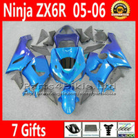 Comression Mold For Kawasaki Ninja ZX-6R ABS full fairing kit for Kawasaki Ninja fairings ZX-6R 636 ZX 6R 05 06 ZX636 blue gray motobike parts ZX6R 2005 2006 VR31 +7 Gifts
