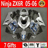 Comression Mold For Kawasaki Ninja ZX-6R ABS full fairing kit for Kawasaki Ninja fairings ZX-6R 636 ZX 6R 05 06 ZX636 blue flame silver motobike parts ZX6R 2005 2006 VR33 +7 Gifts