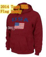 Ice Hockey Men Full Team USA Olympics Jersey Hoodies USA Flag Pullover Hoodie Red Men's Sports Sweatshirts Hoodies 2014 Newest Brand Name Cheap Fleece Hoody