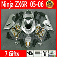 Comression Mold For Kawasaki Ninja ZX-6R ABS full fairing kit for Kawasaki Ninja fairings ZX-6R 636 ZX 6R 05 06 ZX636 golden flame silver motobike parts ZX6R 2005 2006 VR35 +7 Gifts