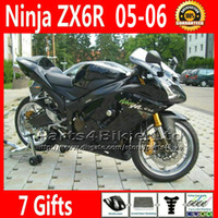 Comression Mold For Kawasaki Ninja ZX-6R ABS plastic fairing kit for Kawasaki Ninja fairings ZX-6R 636 ZX 6R 05 06 ZX636 all glossy black motobike parts ZX6R 2005 2006 VR45 +7 Gifts
