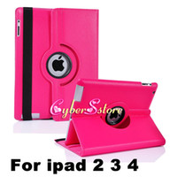 Wholesale For ipad Degree Rotating Rotary PU Leather Case Smart Cover Case Stand For iPad4