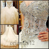 Wholesale 2014 Beaded Organza Empire Ball Gowns Sweetheart Neckline bride dress Cathedral Train wedding Dress Evening Dresses