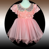 Wholesale 2014 new girls dress lace veil dimensional rose skirt cute doll collar dress