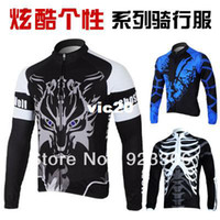 Polyester Men Animal Tour de France 2013 MONTON Black Ghost Wolf Best Selling Polyester Cycling Blue Jerseys Wholesale 30pcs N03