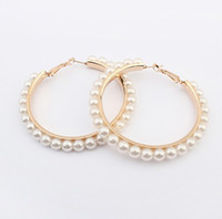 Wholesale Womens Pearl Circle Studs Bohemia CM Big Hoop Earrings Jewelry Colors Mix