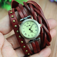 ancient numerals - Pure cowhide multilayer bracelet watches Brown Roman numerals watches Restore ancient ways round nails ladies watch Cheap jewelry LY