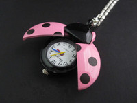Wholesale New fashion Beetle Coccinella pocket watch Jewelry Necklace pocket watch girl lady Quartz Pocket Watch special gift for lover