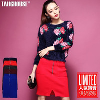 Polyester Above Knee QB351 Autumn 2013 new European and American female Tang big fashion zipper slit pockets Slim package hip knit skirts