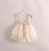 baby tanktop - Hot Sale Fashion Summer Baby Girl Dress Sleeveless Lace Gauze Floral Hollow Tutu Tanktop Children s Princess Girl s Party Dresses